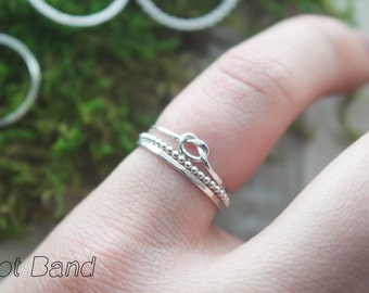 3 Piece Skinny Stacking ring set | Knot ring | Silver stacking ring | Rope ring | ring set | Dot ring | hammered stacking ring | Rope ring