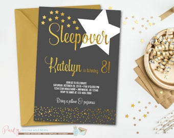 Slumber Party Invitation, Sleepover Invitation, Black and Gold Birthday Invitation, Slumber Party Birthday Invitation, Sleepover Birthday