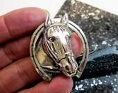 Danecraft Horse Head & Horse Shoe Pin, Vintage 1950s, Sterling Silver, Brooch, Hallmarked, USA.