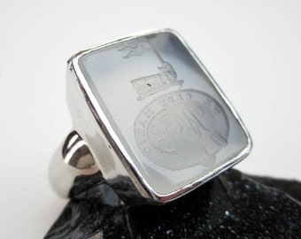 "Large 1800s Chalcedony Intaglio Set in 14K, Seal:""Yield Not To Misfortunes"", White Gold Signet, Custom Made 1980s. Tampico SF USA."