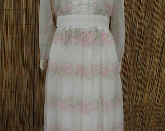 Summer Sale Vintage 70's White and Pink Floral Shabby Chic Pleated Empire Maxi Dress