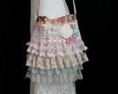 Ruffled Lace Shabby Chic Bag - Vintage Inspired Romantic Lace Bag - Shabby Lace Bag -  Bohemian Gypsy Feminine Purse  - Cross Body Bag