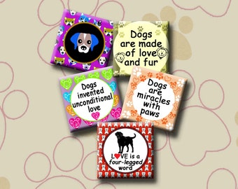 I LOVE DOGS -  Digital Collage Sheet - 1 inch square images for pendants, earrings, decoupage, magnets etc. Instant Download #234.