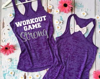 Workout Game Strong Burnout tank top. Glitter Workout Tank Top. Bow Workout Shirt. Fitness Shirt. Fitness Tank. Gym Shirt. Exercise Tee.
