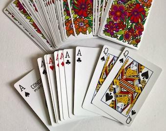 Vintage Mod Floral Design Decks of Congress Pinochle Playing Cards --- Paper Ephemera Casino Game Night Gambling Poker Bridge Home Decor