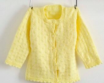 Yellow Cardigan, Eyelet Cardigan, Girls Sweater, Hand Knitted Cardigan, Hand Knit Cardigan, Yellow sweater, Scalloped Hem, Eyelet Sweater