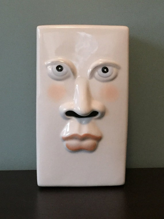Unique Vintage Ceramic Face Tissue Box Holder 80s Design