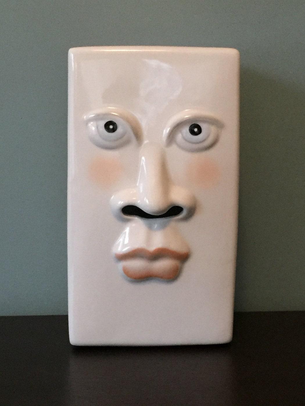 Unique Vintage Ceramic Face Tissue Box Holder 80s Design
