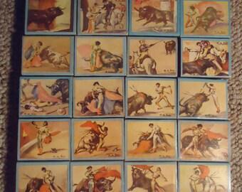 Vintage Matador Bullfight Matchbox Set 29 Piece Fosforera Venezolana (No Matches)