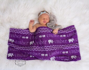 Personalized Swaddle Blanket with Elephant Print // Elephants // Gifts for Baby // Newborn Photo Prop // Best Swaddling Blanket