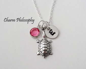 Turtle Charm Necklace - Turtle Necklace for Girls - Dainty 925 Sterling Silver Jewelry - Monogram Initial and Birthstone