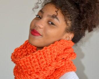 Orange faux Cable Cowl/ Orange Neck Warmer/ Crochet Cowl/ Snood Scarf/ Winter Fashion Cowl/ Tunnel Scarf/ Gift for Her/ Faux Cable Cowl