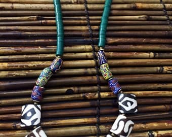 Africentric Jewelry - Kenyan Batik Bone and Recycled Vinyl Necklace