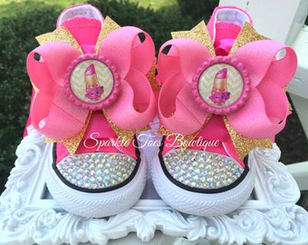 LIPPY LIPS SHOPKINS Shoes Girls Birthday Outfit Shopkins Bow Shopkins Party Pink and Gold Costume Girls Shoes Birthday Shoes  Converse