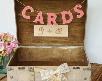 vintage suitcase card box, XL, shabby chic card box,  rustic wedding decor trunk (TR107)