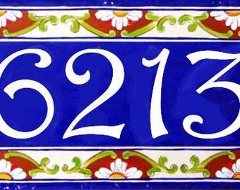 Cobalt blue border number sign, hand painted Italian house numbers, Address numbers, House numbers, Sign, Hand painted ceramic house signs