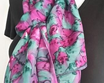 Hand painted long silk scarf / shawl - viridian green magenta