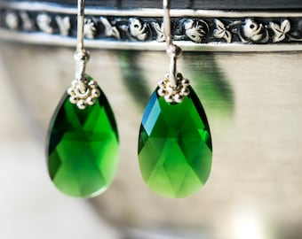Green Earrings, Swarovski Earrings, Imperial Green Earrings, Christmas Silver Earrings, Swarovski Elements,Drop Earrings, Gift for Her