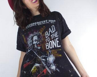 """Bleach Splatter """"Bad to the Bone"""" Skeleton Motorcycle Tee"""