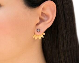 Pearl earring jackets, leaf ear cuff jacket earrings, pearl stud earrings, rose gold ear jackets, double sided earrings, front back earrings