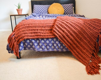 crochet fringed throw || the CREEK || shown in pumpkin home decor fringe blanket scarf bed throw