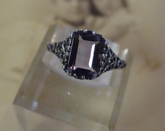 Sweet Sterling Silver Brazilian Amethyst ring Size 6 1/2