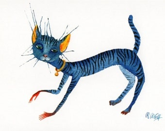"Postcard ""blue cat"""