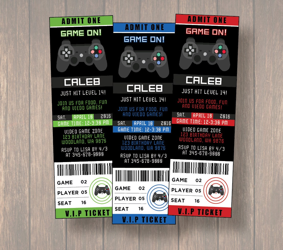 Video Game Invitation Video Game Birthday Party Game Truck - Birthday invitation video