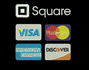 Machine Embroidery Design Instant Download - Square Credit Card Logo (Words)