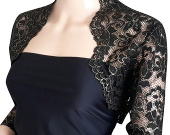 Womens black/gold or black/silver Corded Lace Bolero - Jacket sizes 8 to 18 UK