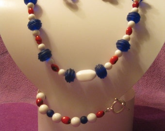 RED, WHITE & BLUE  Beaded Jewelry Set