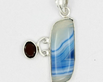 New Blue Banded Botswana Agate,Garnet 925 Sterling Silver Pendant A0143