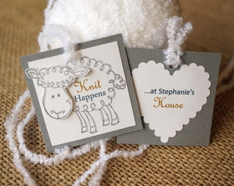 Personalized Knitting Tags - Knitting Labels -  Baby Sheep Tags - Lamb Tags - Hand Knitted by Tags - Handmade for You Tags - Knit