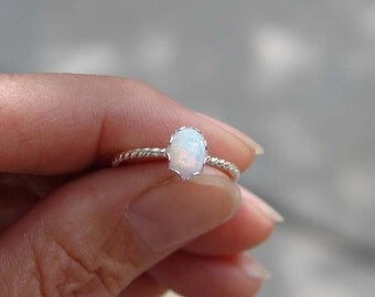 October Birthday ~ Opal Ring ~ Ready to Ship ~ Small Oval Opal Ring ~ Sterling Silver Twisted Ring ~ Gift for Her