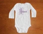 Customized Purple Glitter Name Onesie