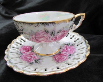 ROYAL SEALY footed Teacup and Saucer with Reticulated Rim Iridescent Lustre Pink Roses Tea Party tc106