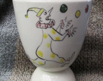 """CLOWN EGG CUP 1950's hand painted porcelain with personalized name """"Pam"""" 5B"""