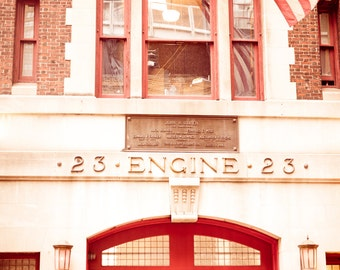 nyc photography new york city fire department engine 23 new york city print new york city photography gifts for firefighters man cave red