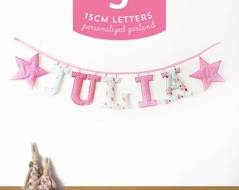 Customized Handmade Fabric Garlands - 5 Large Letter Name