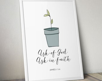 2017 LDS Young Women's Mutual Theme POSTERS ONLY | Ask of God Ask in Faith | Watercolor Seedling |Mormon Art | James 1:5-6