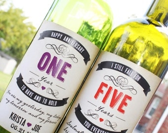 Rustic Wedding Anniversary Wine Labels, Wedding Anniversary Gift, Milestones, Choose Anniversary Years, Tags and labels available