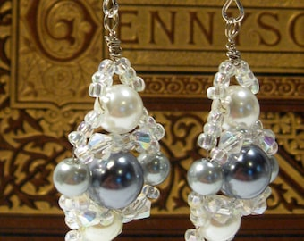 Metalic and White Pearls with Swarovski Crystals Earrings **FREE SHIPPING**