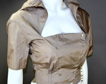 NEW Azzedine ALAIA Corset Blouse Top / Vintage 1990s Still with Tags! / Size Small or US 4 France 36