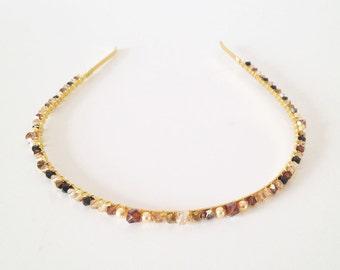 Gold Crystal Headband, wedding headband, crystal tiara, golden headband, bridal heapiece, bridal tiara, wedding headband - GOLDEN