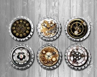Steampunk Clocks Bottle Cap Magnets - Set of 6