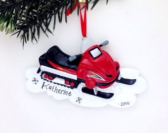 Red Snowmobile Personalized Christmas Ornament / Snowmobile Ornament / Vermont Ornament / Personalized Name or Message