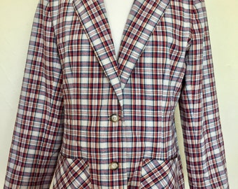 Vintage Lanz Original Women's Plaid Blazer- Navy, Red, Cream
