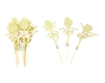 12 Gold Glitter Ballerina Girl Cupcake Toppers - Ballerina Cupcake Toppers, Birthday Cupcake Topper, First Birthday Cupcake Toppers