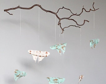 Branch Mobile - Woodlands Nursery - Fabric Origami Butterflies - Mint, Cream, Gold Nursery Decor
