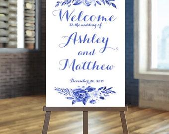 Printable Wedding Sign, Welcome Wedding Sign, Floral Wedding Sign, Blue wedding Sign, Winter Wedding Sign, Custom Wedding Sign, Welcome sign
